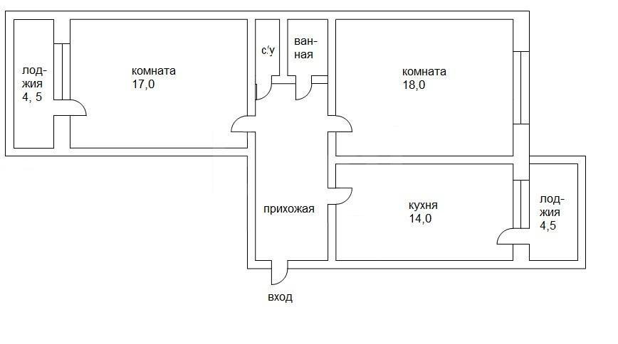 Продажа 2-комнатной квартиры, Челябинск, доватора ул, 42б.