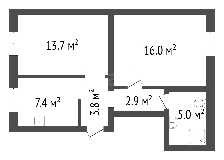 Продажа 2-комнатной квартиры, Овсянка, Гагарина,  18а