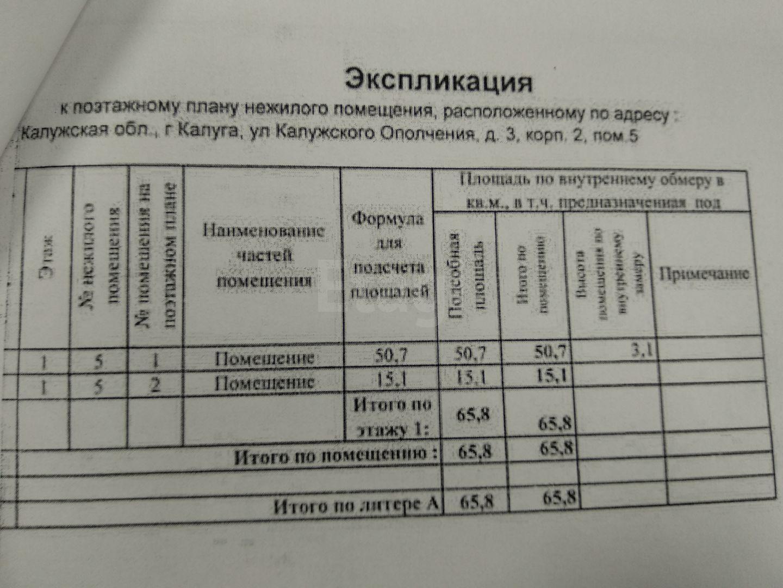 Продажа коммерческой недвижимости, 65м <sup>2</sup>, г. Калуга, Калужского Ополчения