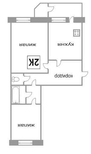 Объявление. г. Сургут, 2-комн.кв. 56кв.м, Игоря Киртбая, 21 к 1. Фото 1