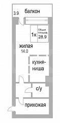 Объявление. г. Сургут, 1-комн.кв. 33кв.м, Крылова, 32. Фото 1
