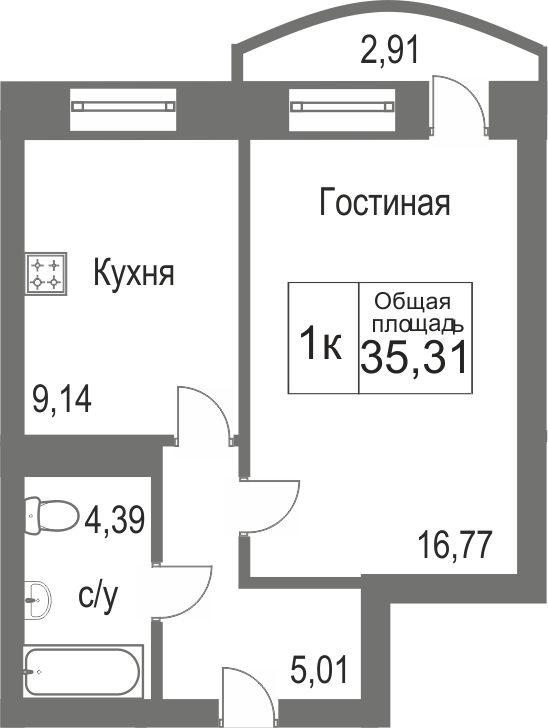 Объявление. г. Тюмень, 1-комн.кв. 35.31кв.м, Беловежская, ЖК Новоант. Фото 1