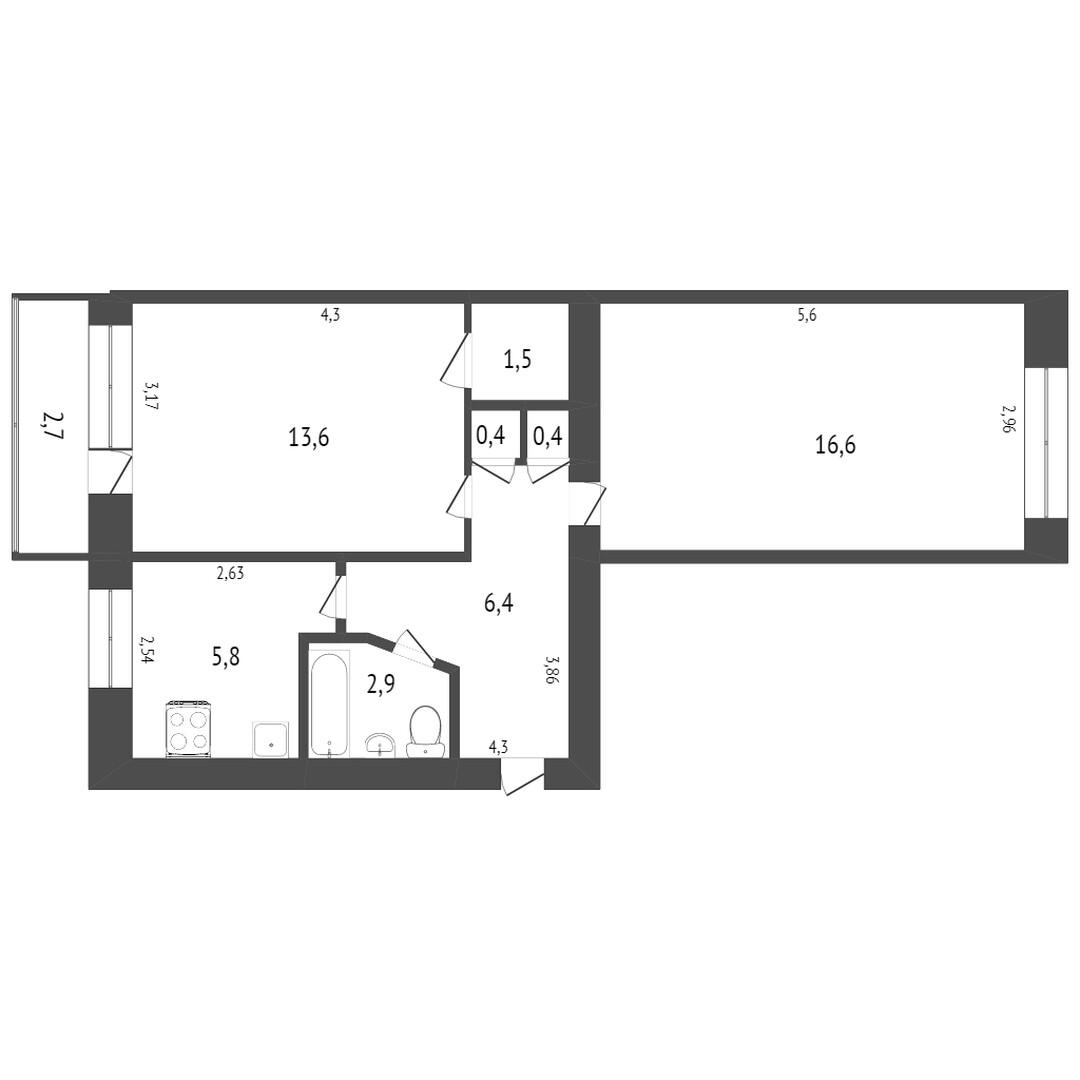 Продажа 2-комнатной квартиры, Комсомольск-на-Амуре, Васянина,  7 к 2
