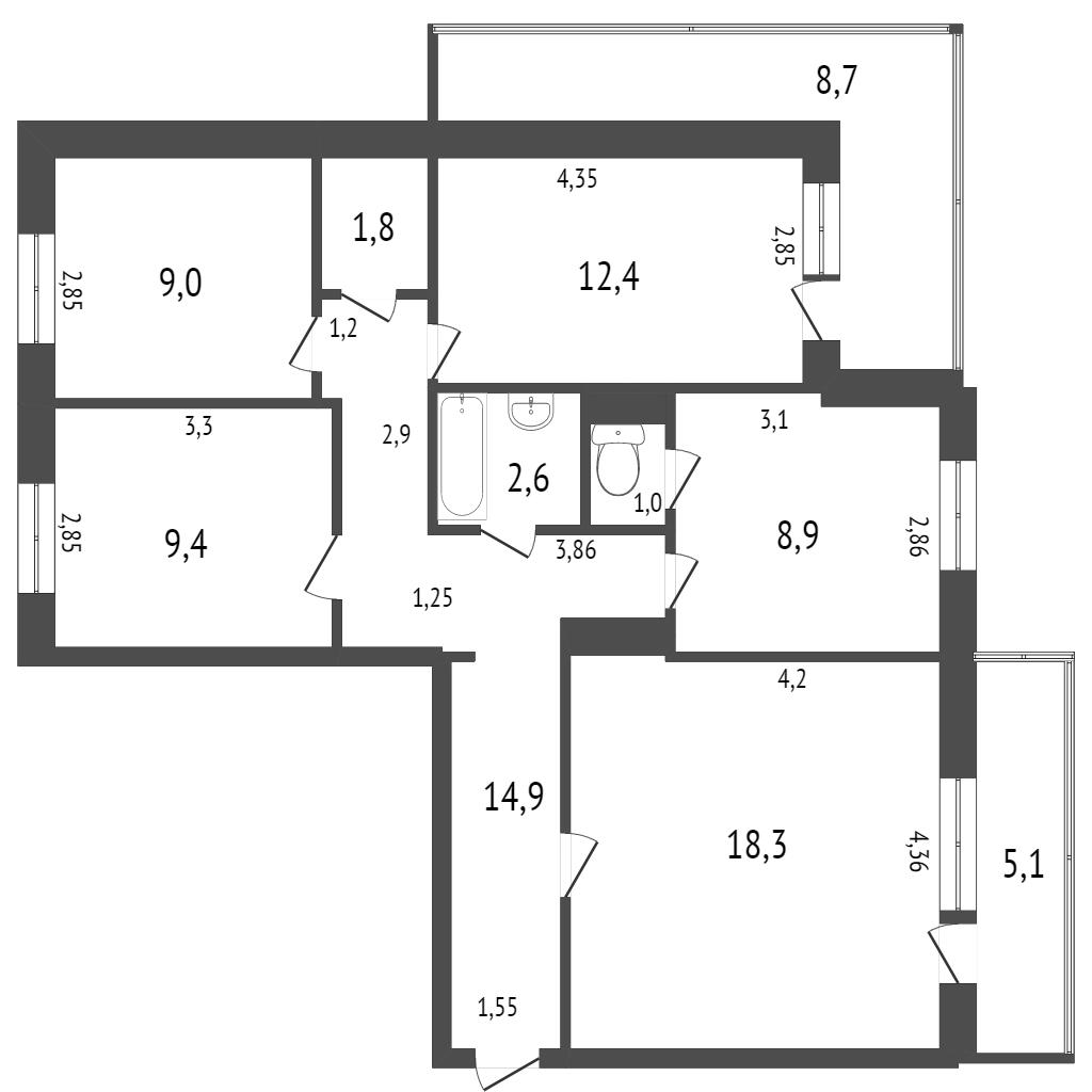 Продажа 4-комнатной квартиры, Комсомольск-на-Амуре, Московский пр-т,  14