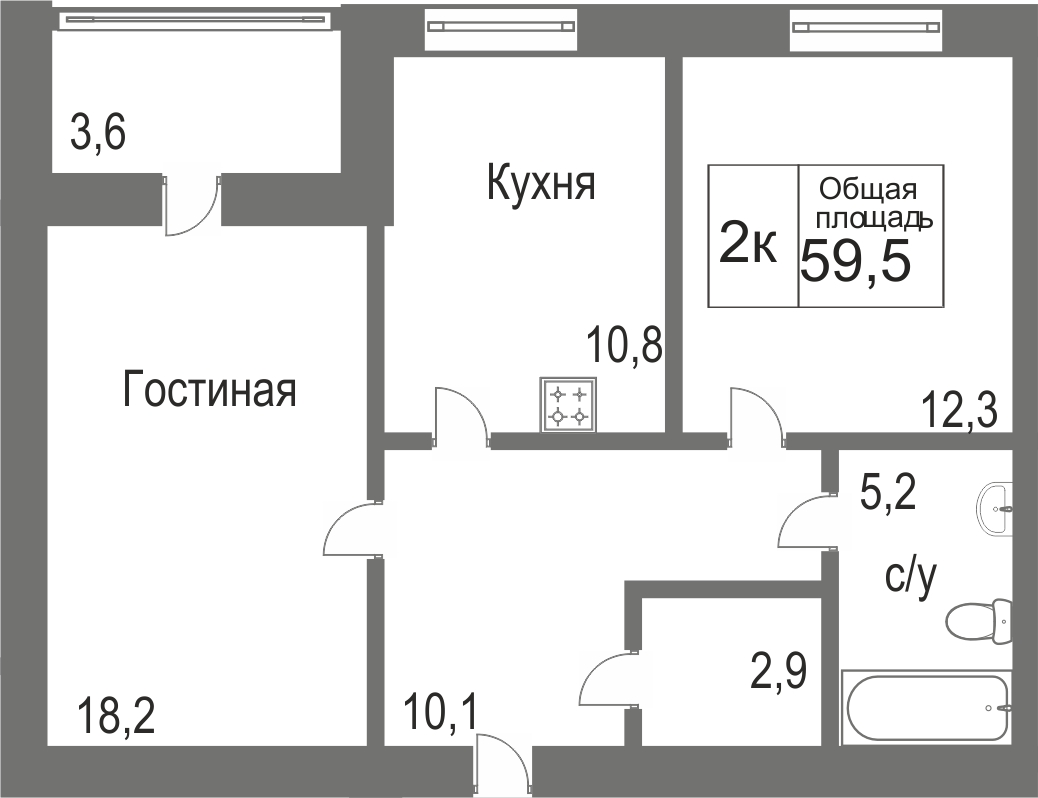 Объявление. г. Сургут, 2-комн.кв. 59.43кв.м, Игоря Киртбая. Фото 12