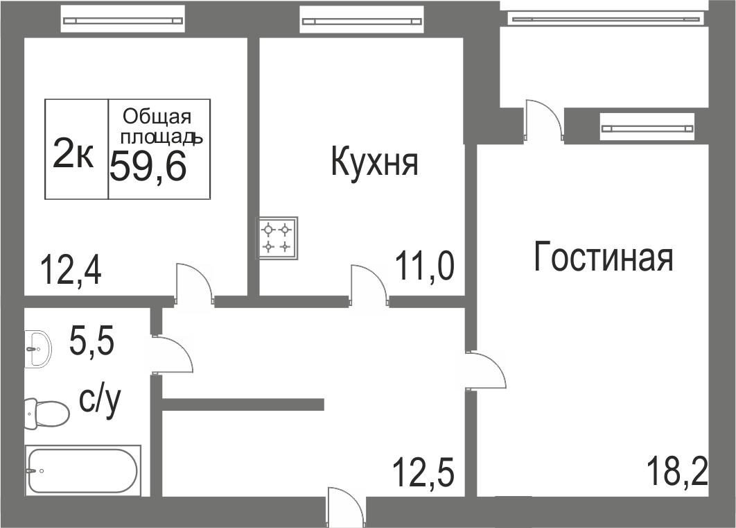 Объявление. г. Сургут, 2-комн.кв. 59.58кв.м, Игоря Киртбая. Фото 12