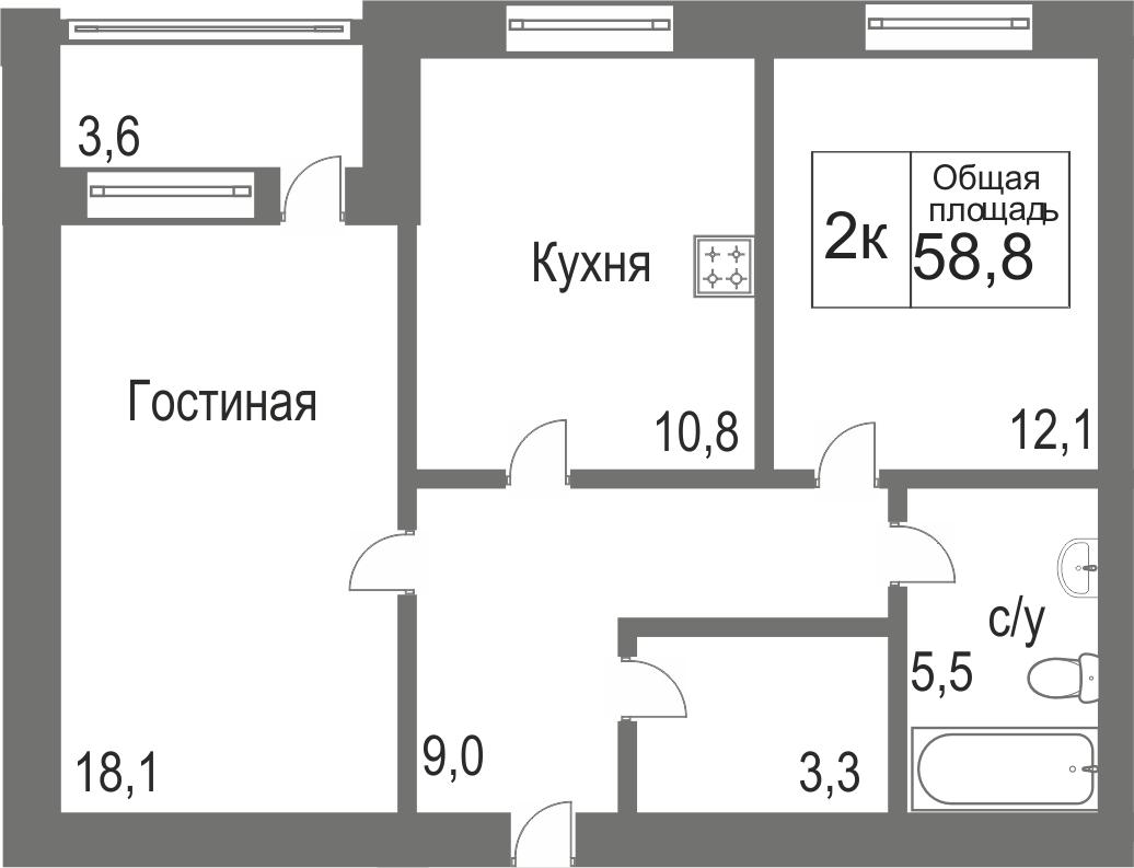 Объявление. г. Сургут, 2-комн.кв. 58.88кв.м, Игоря Киртбая. Фото 12