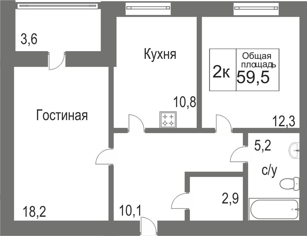 Объявление. г. Сургут, 2-комн.кв. 59.43кв.м, Игоря Киртбая. Фото 11