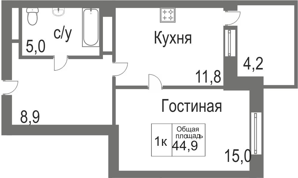 Объявление. г. Тюмень, 1-комн.кв. 40.7кв.м, Велижанская. Фото 2