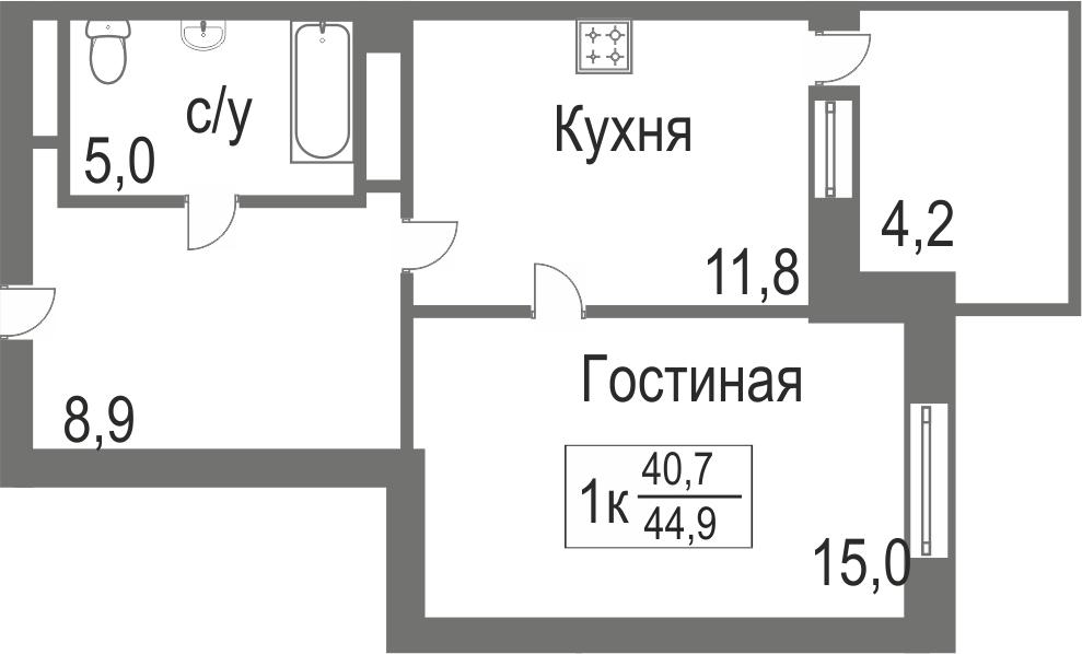 Объявление. г. Тюмень, 1-комн.кв. 40.7кв.м, Велижанская. Фото 1