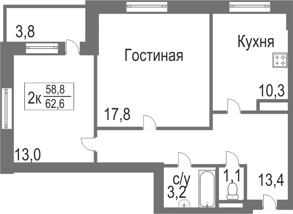 Объявление. г. Тюмень, 2-комн.кв. 58.8кв.м, Велижанская. Фото 2