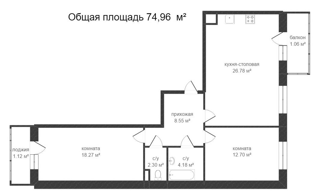 Объявление. г. Сургут, 2-комн.кв. 74.54кв.м, Московская, 5. Фото 7