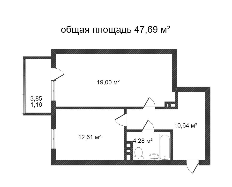 Объявление. г. Сургут, 1-комн.кв. 47.69кв.м, Югорский тракт. Фото 7