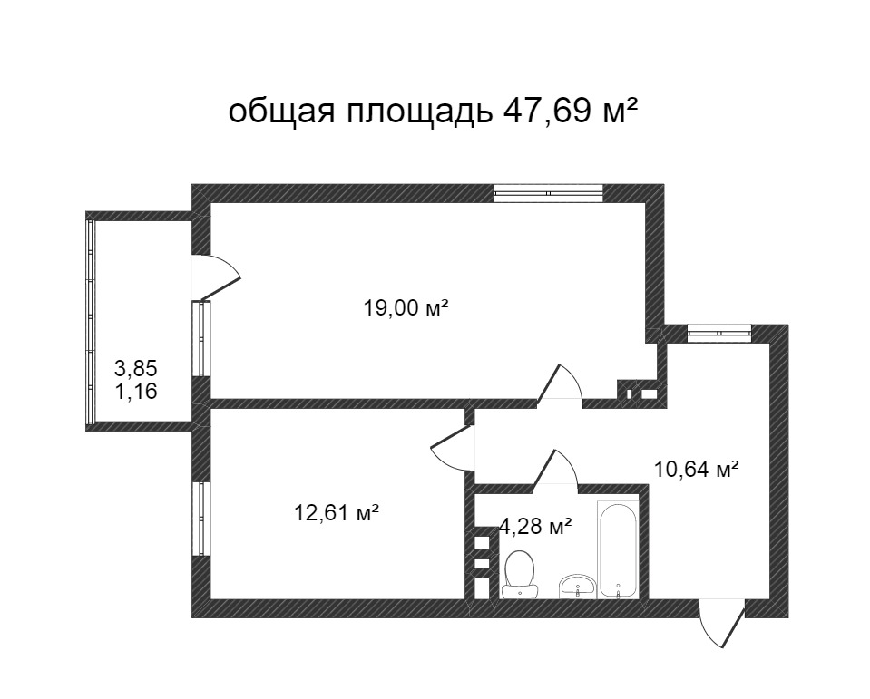 Объявление. г. Сургут, 1-комн.кв. 47.69кв.м, Югорский тракт. Фото 6