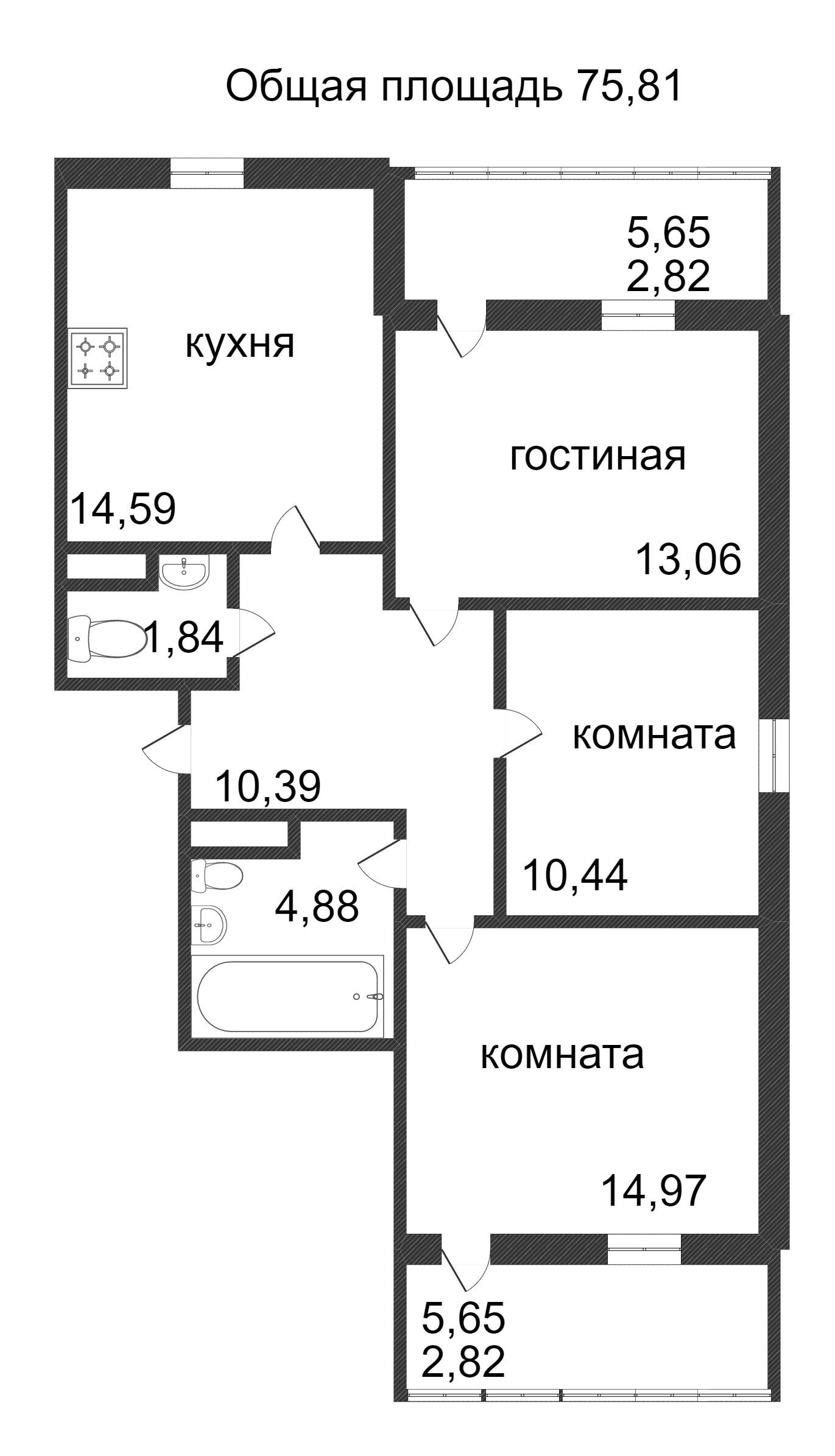 Объявление. г. Сургут, 3-комн.кв. 75.81кв.м, Ивана Захарова. Фото 3