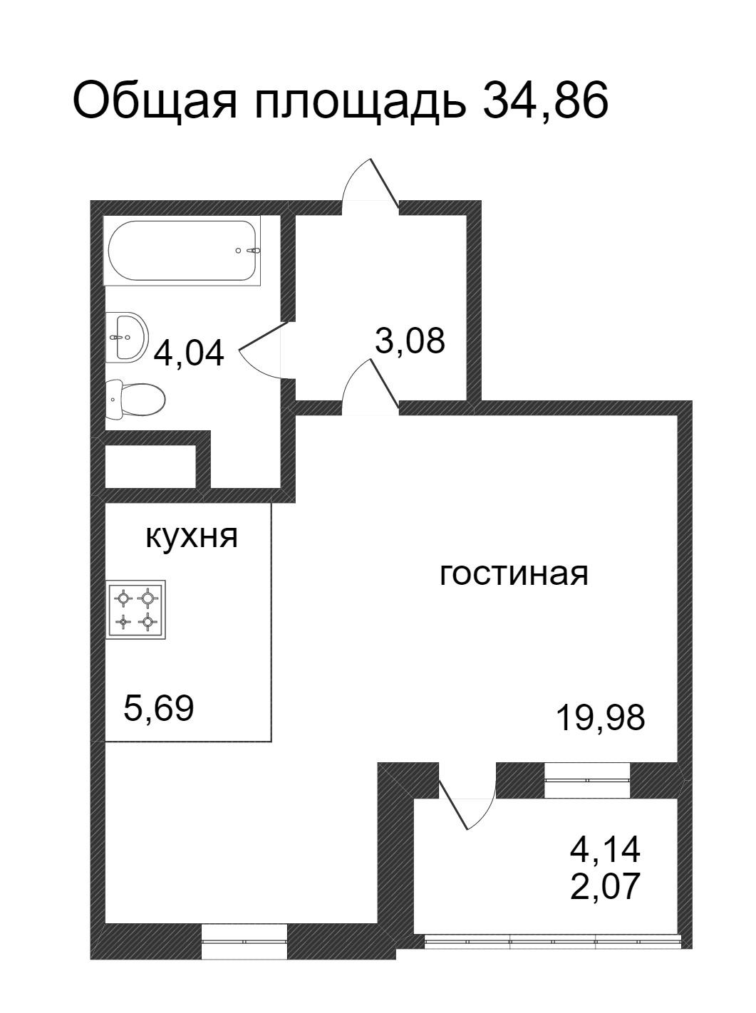 Объявление. г. Сургут, 1-комн.кв. 34.86кв.м, Ивана Захарова. Фото 3