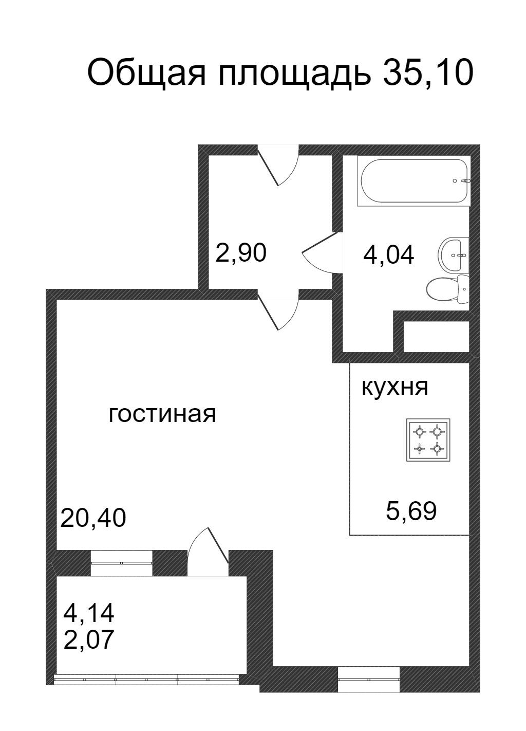 Объявление. г. Сургут, 1-комн.кв. 35.1кв.м, Ивана Захарова. Фото 3