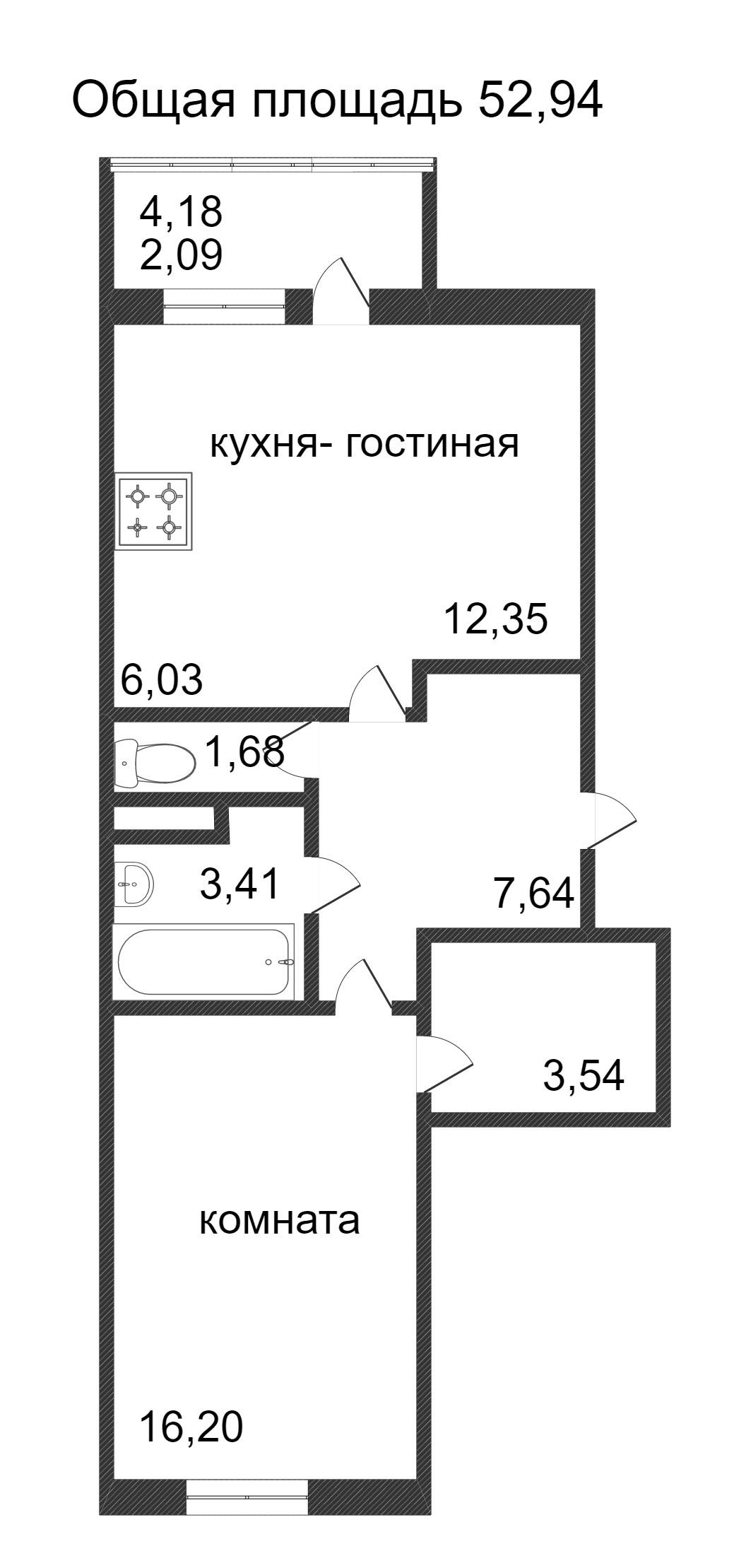 Объявление. г. Сургут, 1-комн.кв. 52.94кв.м, Ивана Захарова. Фото 3