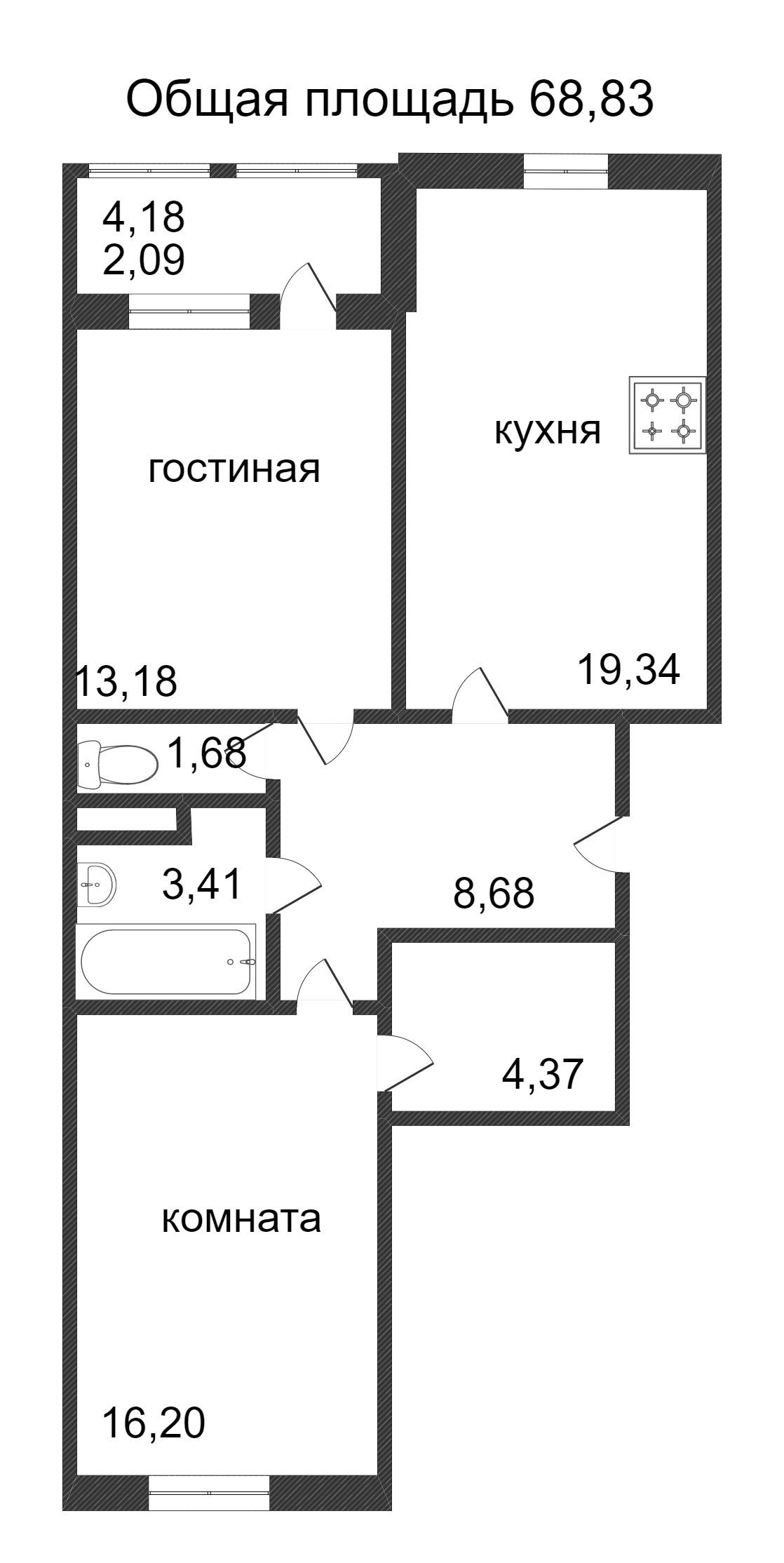 Объявление. г. Сургут, 2-комн.кв. 68.83кв.м, Ивана Захарова. Фото 3