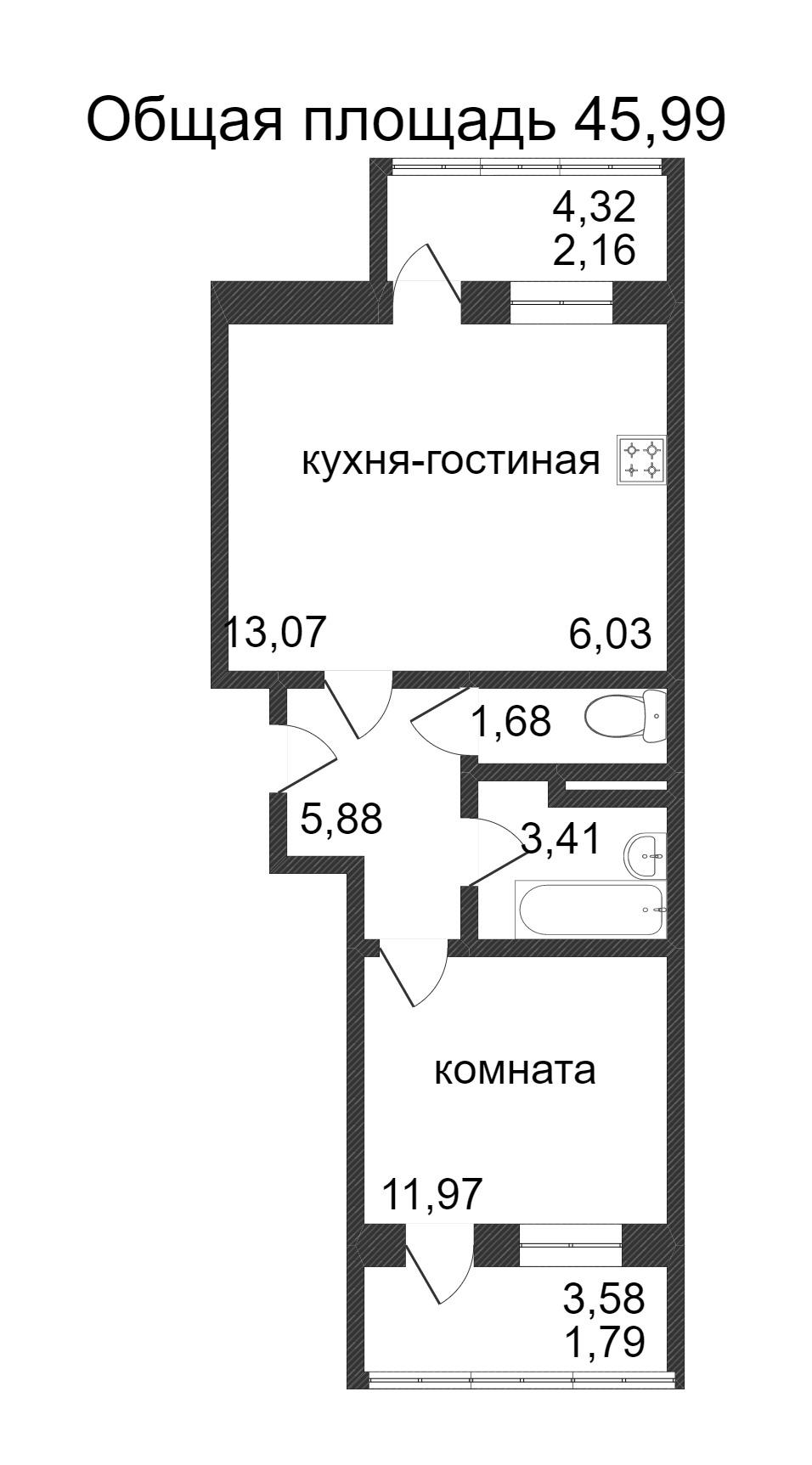Объявление. г. Сургут, 1-комн.кв. 45.99кв.м, Ивана Захарова. Фото 3