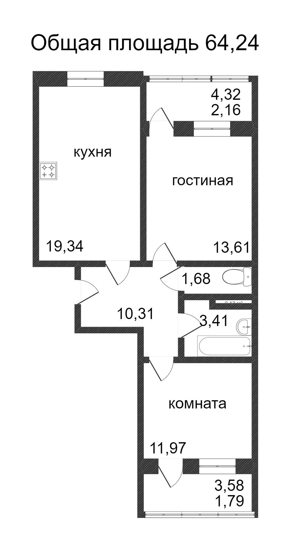 Объявление. г. Сургут, 2-комн.кв. 64.24кв.м, Ивана Захарова. Фото 3
