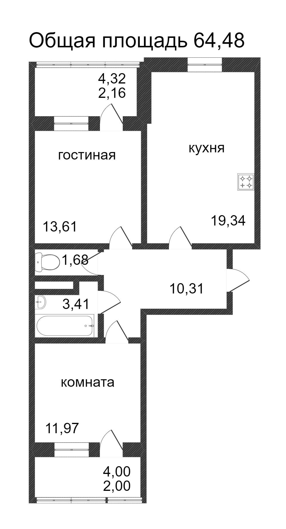 Объявление. г. Сургут, 2-комн.кв. 64.48кв.м, Ивана Захарова. Фото 3