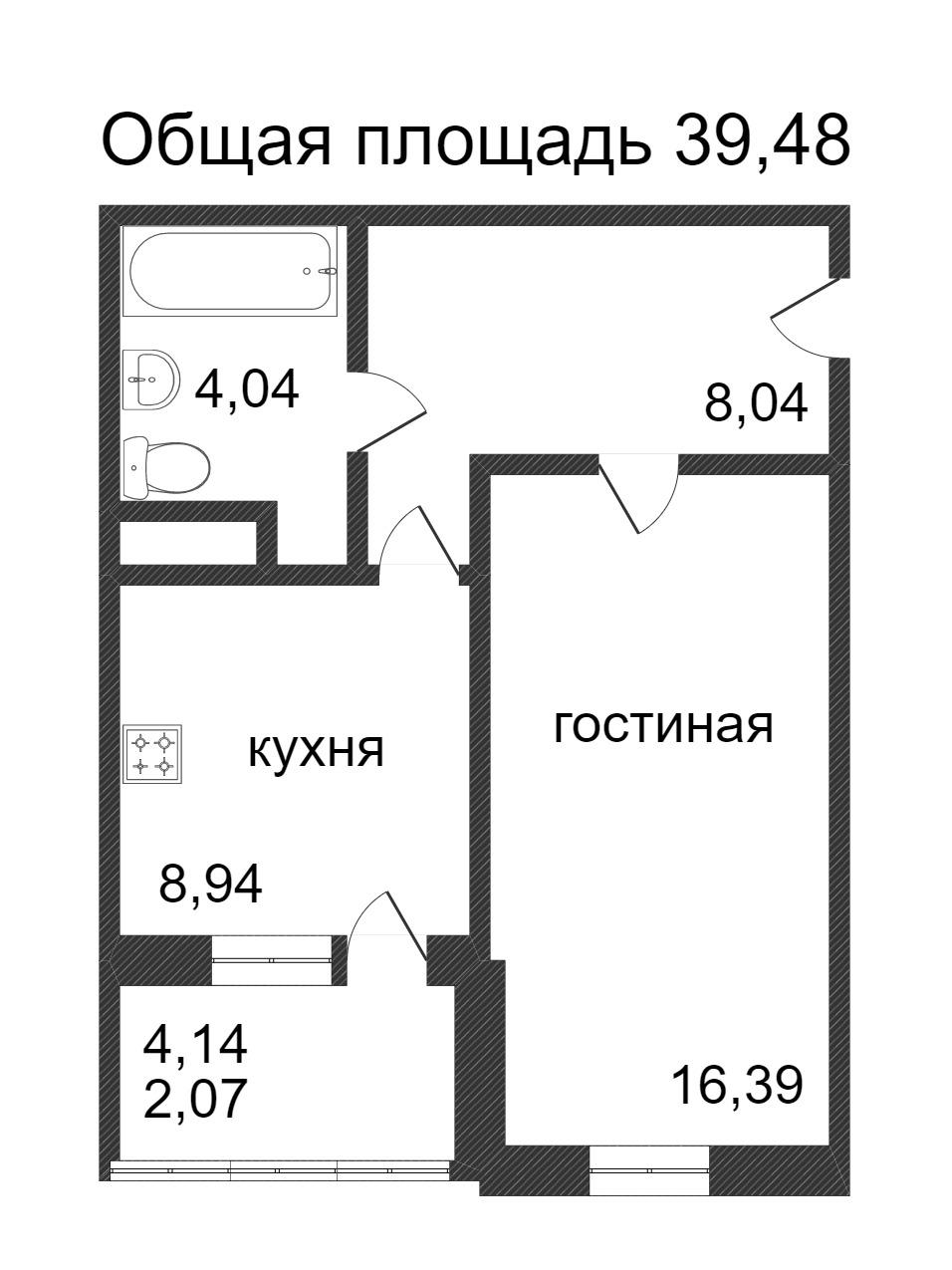 Объявление. г. Сургут, 1-комн.кв. 39.48кв.м, Ивана Захарова. Фото 3