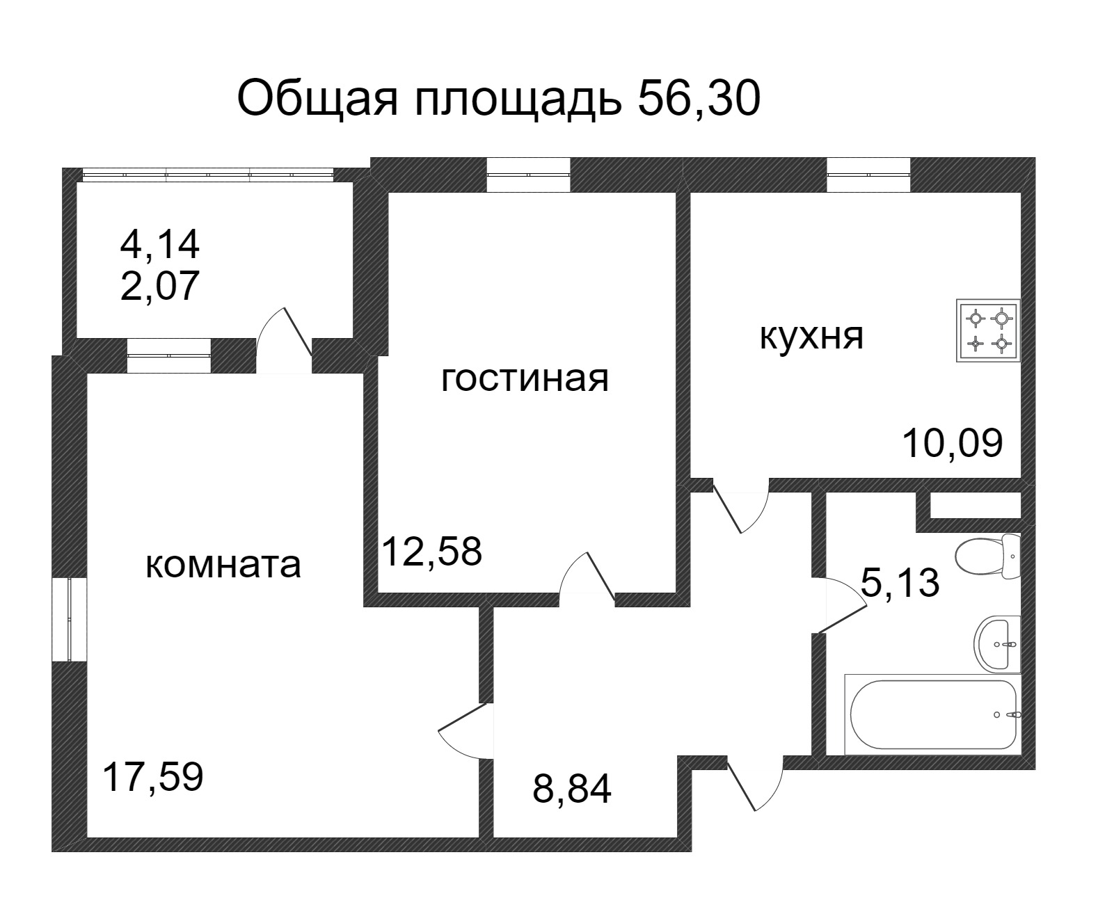 Объявление. г. Сургут, 2-комн.кв. 56.3кв.м, Ивана Захарова. Фото 3