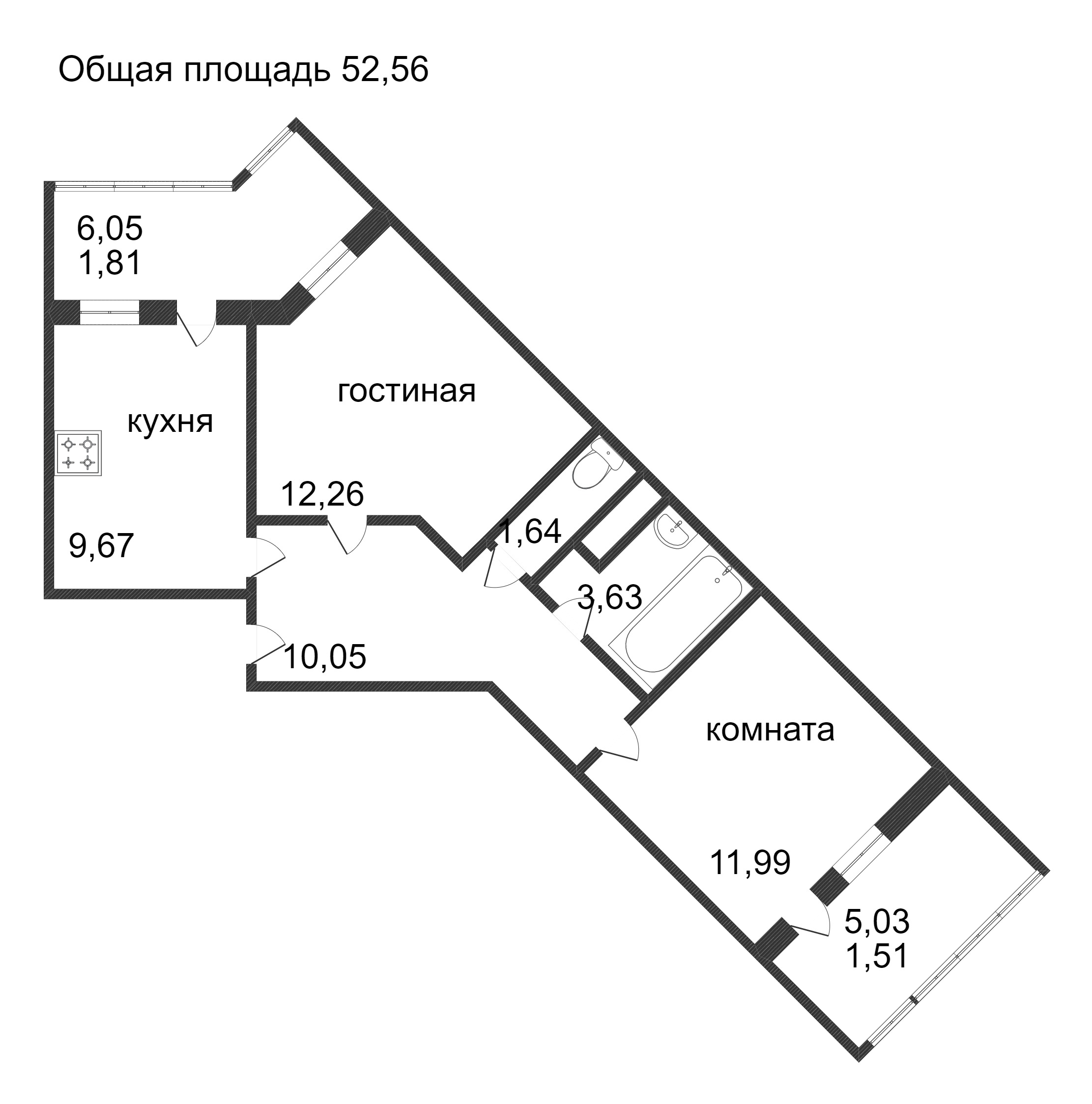 Объявление. г. Сургут, 2-комн.кв. 52.56кв.м, Ивана Захарова. Фото 3
