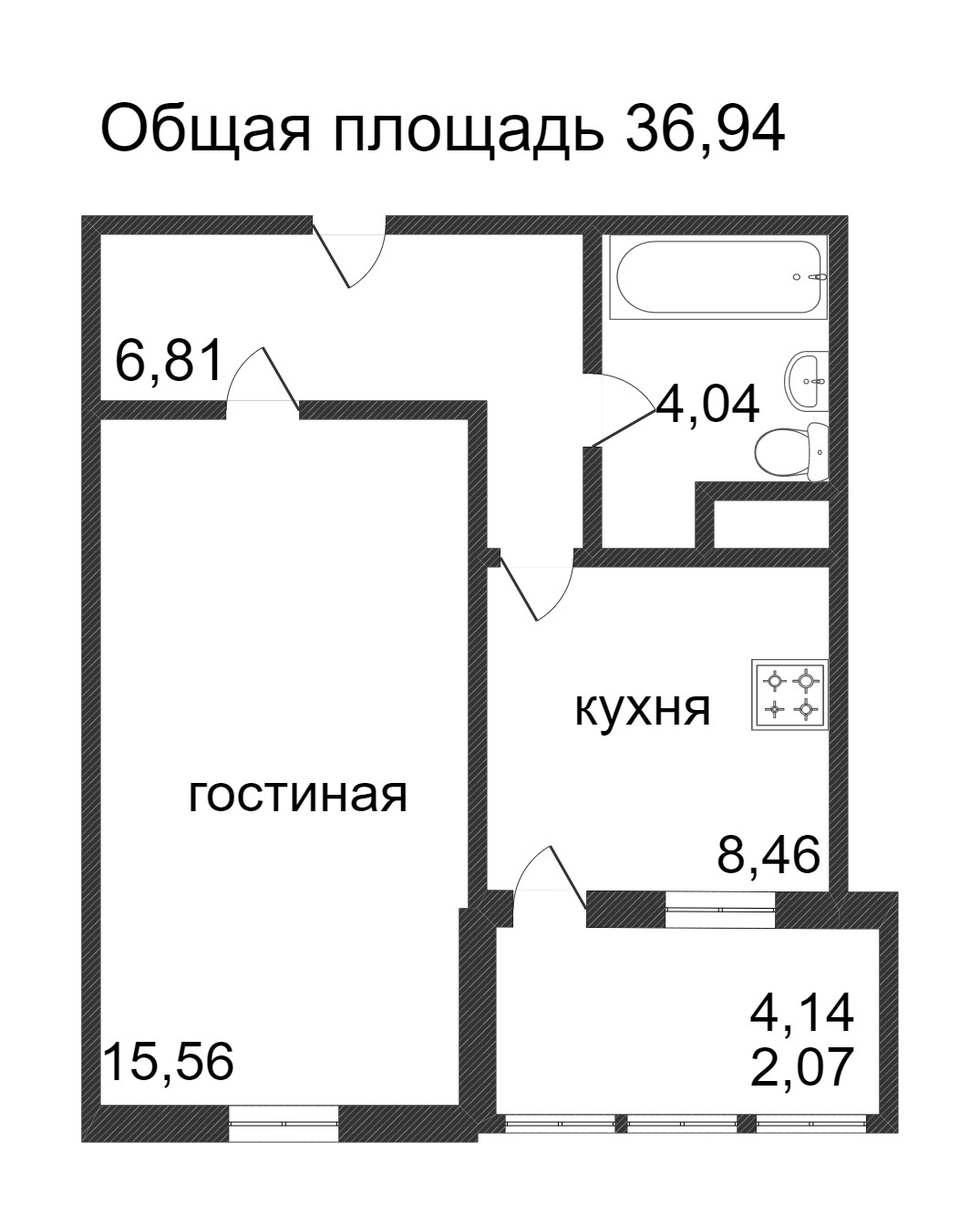Объявление. г. Сургут, 1-комн.кв. 36.94кв.м, Ивана Захарова. Фото 3