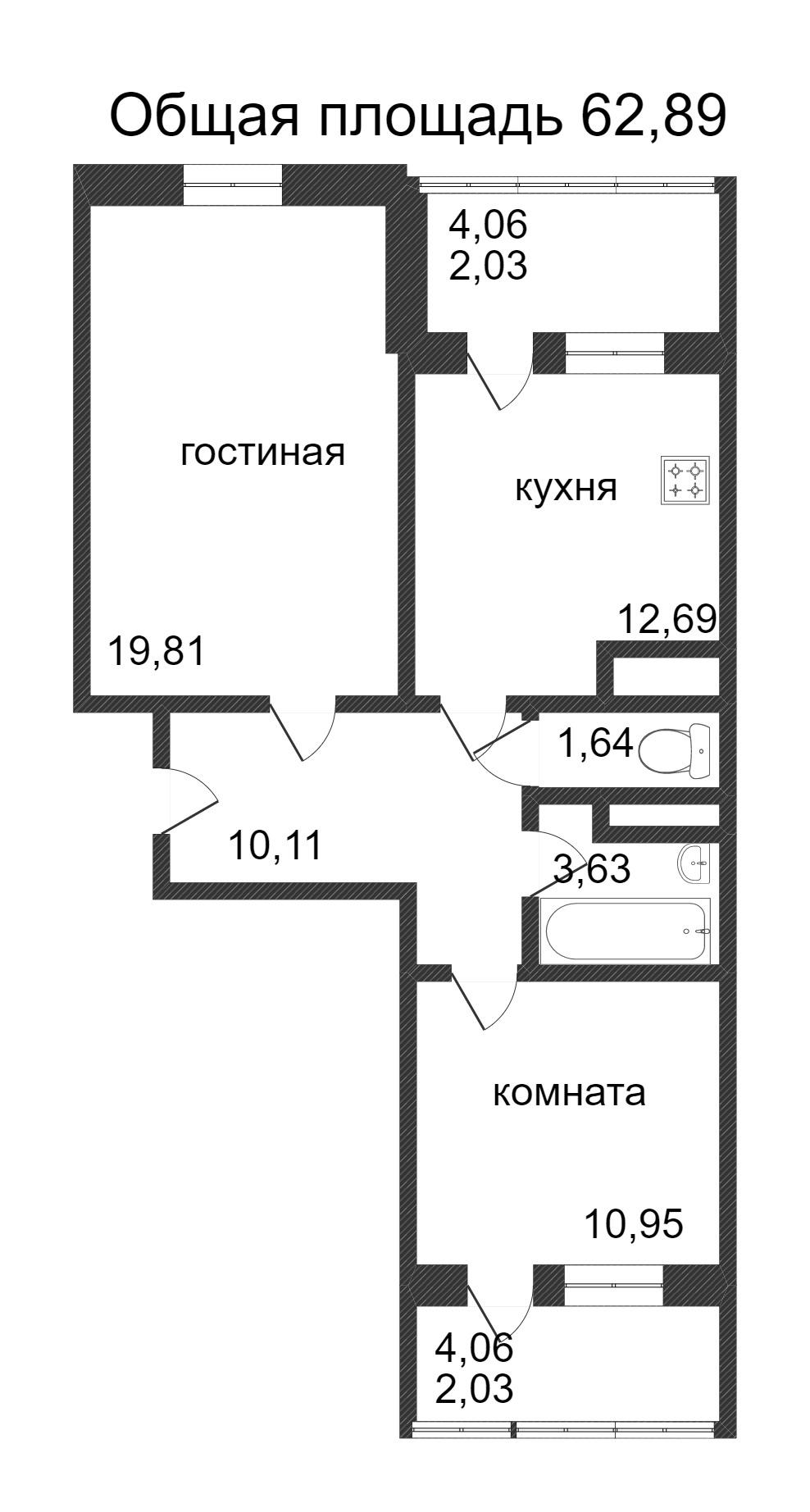 Объявление. г. Сургут, 2-комн.кв. 62.89кв.м, Ивана Захарова. Фото 3