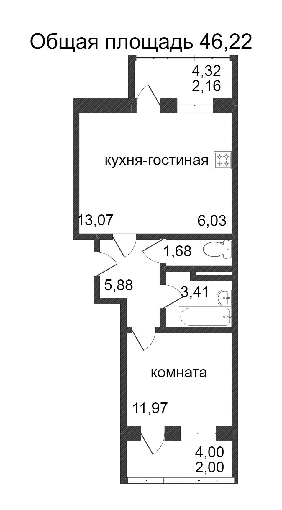 Объявление. г. Сургут, 1-комн.кв. 46.2кв.м, Ивана Захарова. Фото 3