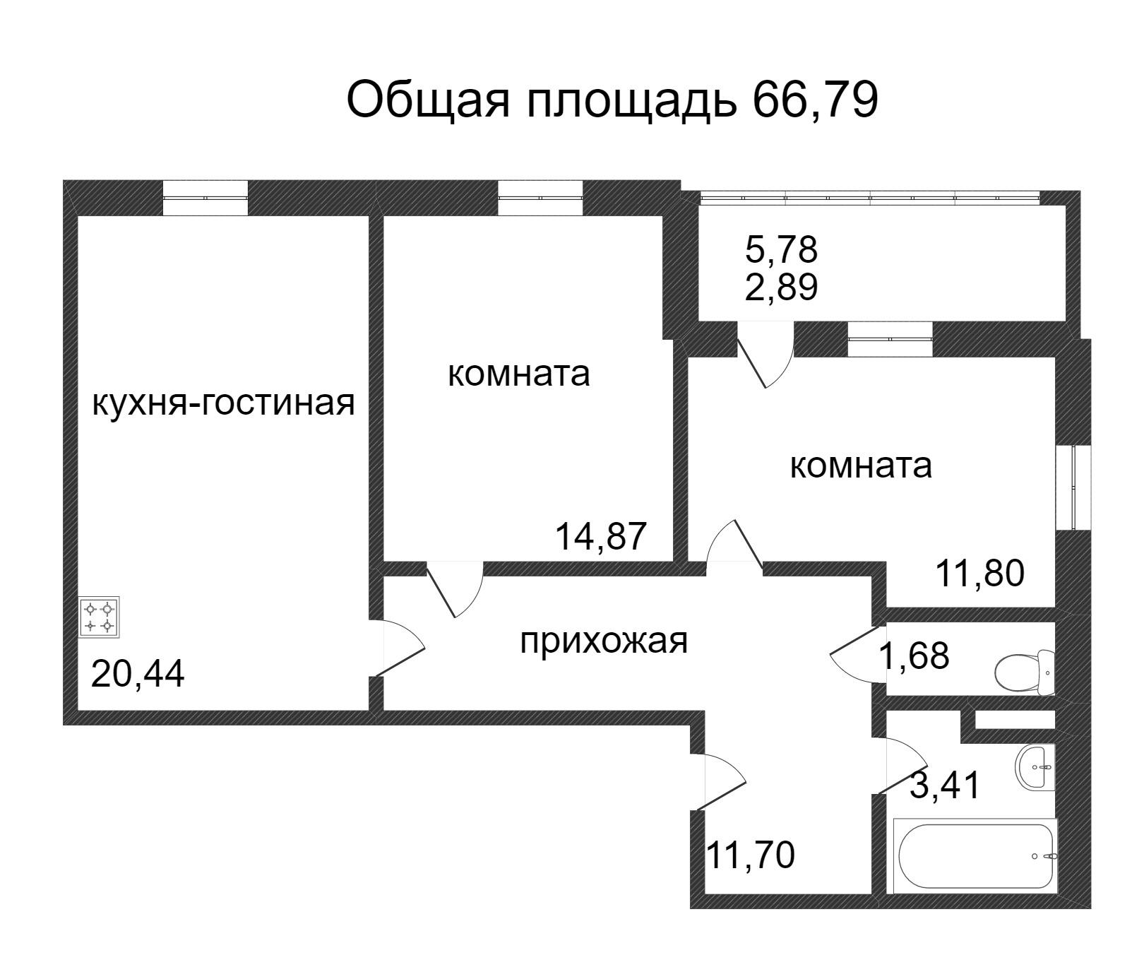 Объявление. г. Сургут, 2-комн.кв. 66.79кв.м, Ивана Захарова. Фото 3