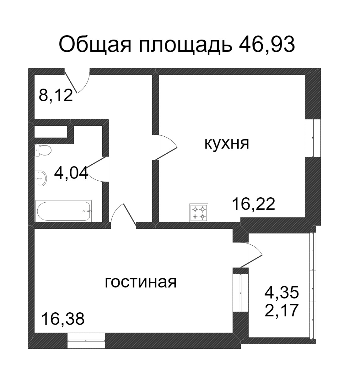 Объявление. г. Сургут, 1-комн.кв. 46.93кв.м, Ивана Захарова. Фото 3
