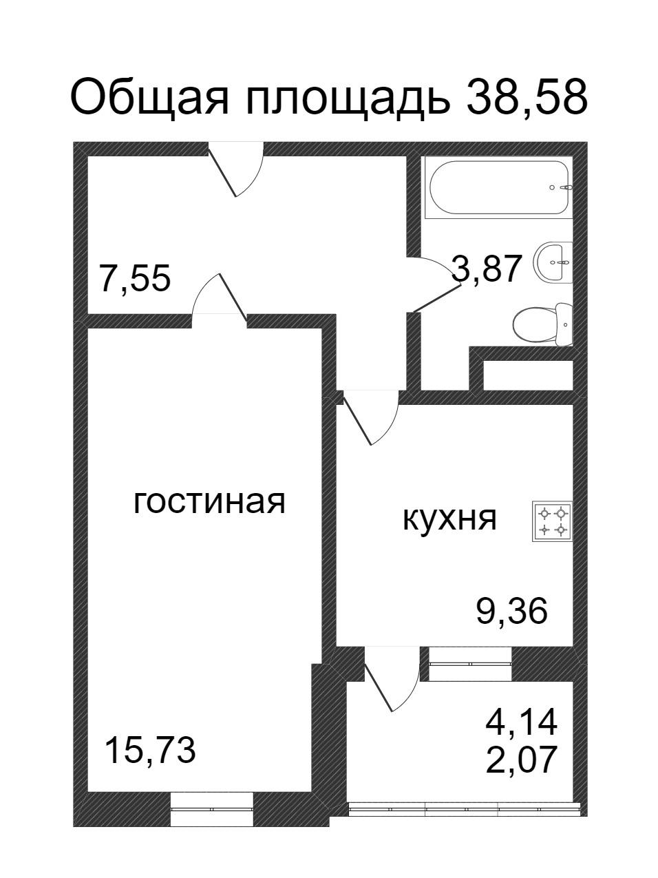 Объявление. г. Сургут, 1-комн.кв. 38.58кв.м, Ивана Захарова. Фото 3