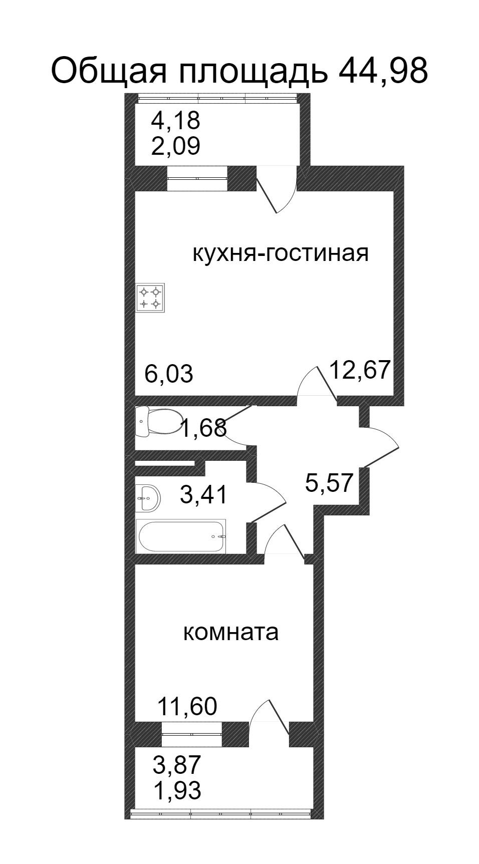 Объявление. г. Сургут, 1-комн.кв. 44.98кв.м, Ивана Захарова. Фото 3