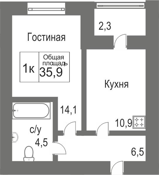 Объявление. г. Сургут, 1-комн.кв. 35.9кв.м, Югорский тракт, 4. Фото 11